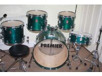 "Premier XPK Emerald Green Lacquer 5 (or 7) Piece Drum Kit (22"" Bass) - Made In England - DRUMS ONLY"