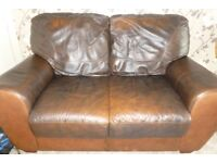 Brown Leather 2 seater sofa - Good condition - Ideal for Starter home or Student Accommodation