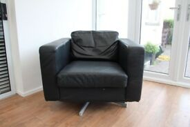 Black Armchair - black leather look