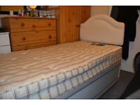 FREE Single bed with base, Mattress, Headboard and memory foam topper