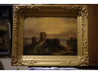 Antique 19th Century Oil Landscape Painting of Castle Ruins in Period Frame