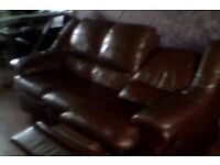 3 Piece Suite - Anderson & England Reclining Leather Sofa + 2 Chairs