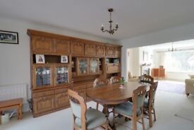 Dining room furniture table and six chairs plus salaries unit