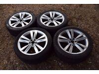 """Genuine 17"""" Mk1 Seat Leon FR Cupra Alloy Wheels 225/45R17 Tyres Silver Mk4 VW Golf Mk1 Audi A3 TT"""