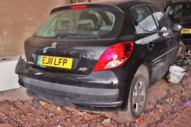 Peugeot 207 Black colour, 5 door, 2011 year, Breaking and selling for parts