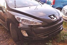 Peugeot 308, black colour, 5 doors, 2010 year, Breaking and selling for parts