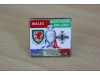 REDUCED TO A BARGAIN OF ONLY £1 WALES V NORTHERN IRELAND FOOTBALL EUROPEAN FINALS enamel badge