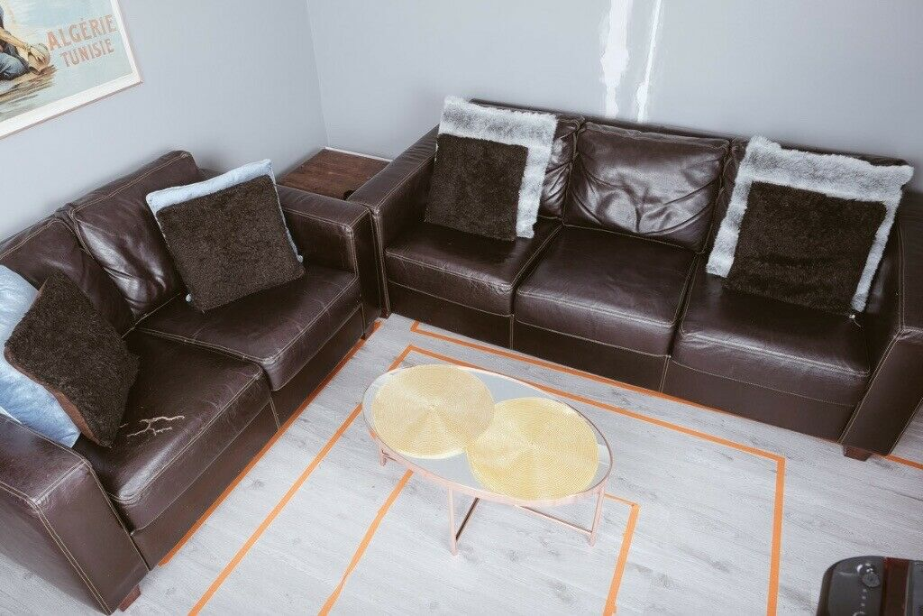 Italian Leather Sofa Loveseat Set