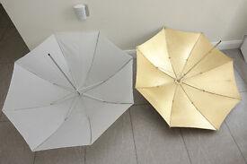 2 x Photography / Studio Flash Umbrellas - 80cms & 87cms