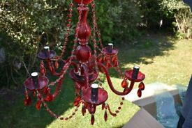 Stunning Red 5 Arm Glass Chandelier