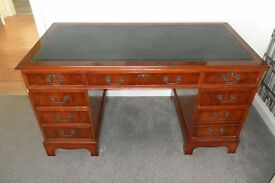 "Regency reproduction pedestal desk 4'6"" x 2'3"""