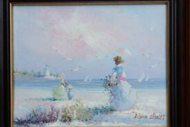 Framed Vintage Oil Painting Edwardian Ladies Beach Pastel Signed Marie? Art Picture