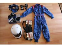 Childs Go Karting Outfit, Helmet, Sparco Ankle boots, overalls, Neck brace and body brace & Gloves