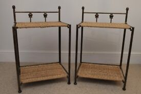 Pair of antique look METAL FRAME and WICKER bedside tables
