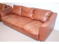 Collins and Hayes - brown genuine leather three seater settee and armchair. Very comfortable