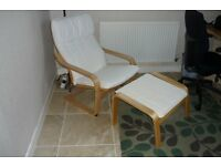 Ikea Poang Cream Chair and Footstool