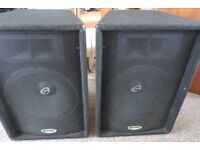 A pair of disco speakers rated at 320W peak music power