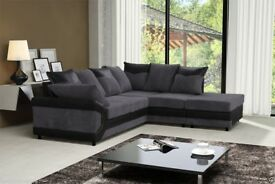 SAME DAY DELIVERY! Brand New Jumbo Cord Dino Corner Sofa with footstool or 3+2 Seater Sofa