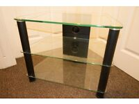 Glass TV Stand with unit to conceal cables