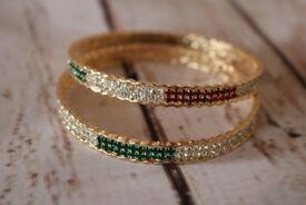 Charming Wedding Bangles Set Indian (gold plated , stone bangle, jewellary) RED,WHITE,GREEN