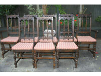 A set of eight Old Charm style oak chairs (6+2)