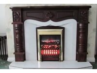 Mahogany fireplace with electric fire