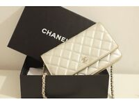 Authentic Silver Chanel Wallet on Chain