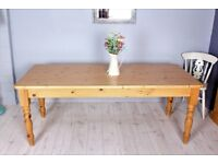 DELIVERY OPTIONS - 6, 1/2 FT FARMHOUSE PINE TABLE WITH TURNED LEGS WAXED
