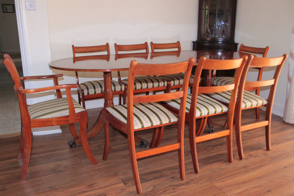 Extendable Dining Table and Eight Chairs