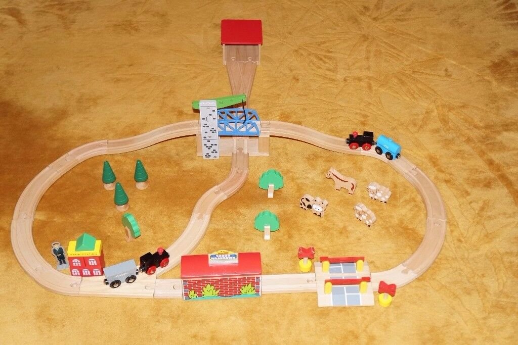 Wooden Train Sets Children Kids