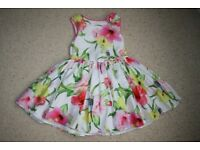 Ted Baker dress girls 4 year white flowers parrots *can post*