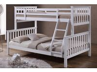 Triple Sleeper White Solid Wooden Bunk Beds Single 3ft & Double 4ft6 Size- Brand New