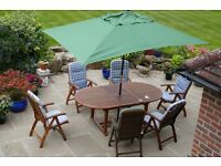 Winchester Teak Table and 6 Chairs plus Parasol
