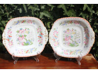 Pair of Rare pre 1820 George III Antique Davenport Display Plates Georgian Victorian Vintage Unusual