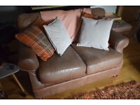 3 & 2 Seater Brown Leather Sofas with Footstool