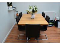 Wooden extendable dining table and 6 chairs