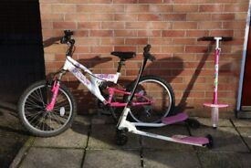 Girls bicycle, Flicker and pogo Stick for sale
