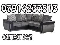 SOFA Brand New Black & Grey Or Brown/Beige Helix Sofa Available 6565