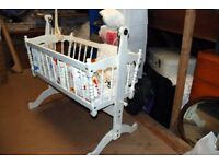 Swinging Cot/Crib, white solid wood with foam mattress and bedding