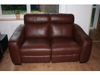 Brown leather two seats sofa with two electric/power recliners only £240