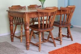 SOLID PINE TABLE AND 4 PINE CHAIRS, SHABBY CHIC RUSTIC SET SOLID AND STURDY - CAN COURIER