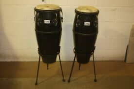 Toca Player's Series Fibreglass Conga Drums 9in + 10in x 28in Deep Black + Stands - £225 ono