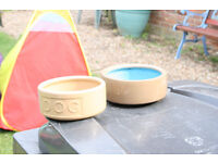 for sale two stone ware dog bowls
