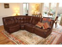Danish style 4 piece modular / sectional leather sofa - comfortable - versatile and looks great!