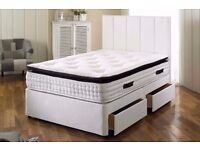 "Best Premium Quality; Strong Base New Double/Small Double Divan Bed w 9"" Deep Quilt Mattress"