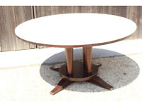 Large heavy Round Dining Table with Padded Top from restaurant