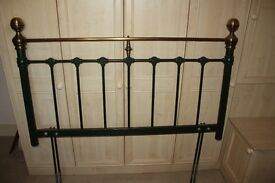 Metal double bed size headboard. In dark green colour and gold