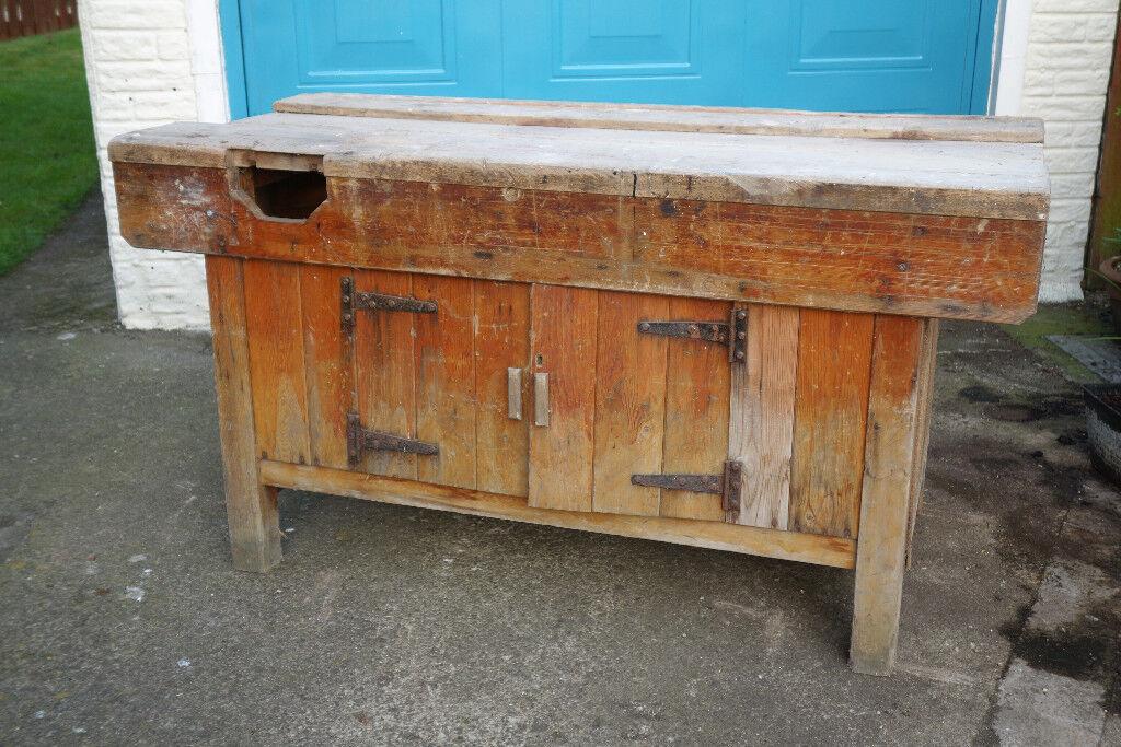 Vintage School Woodwork Bench Kitchen Island In Darlington