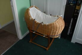 Wicker Moses Basket With Stand,