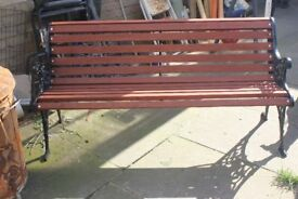 cast iron wooden bench